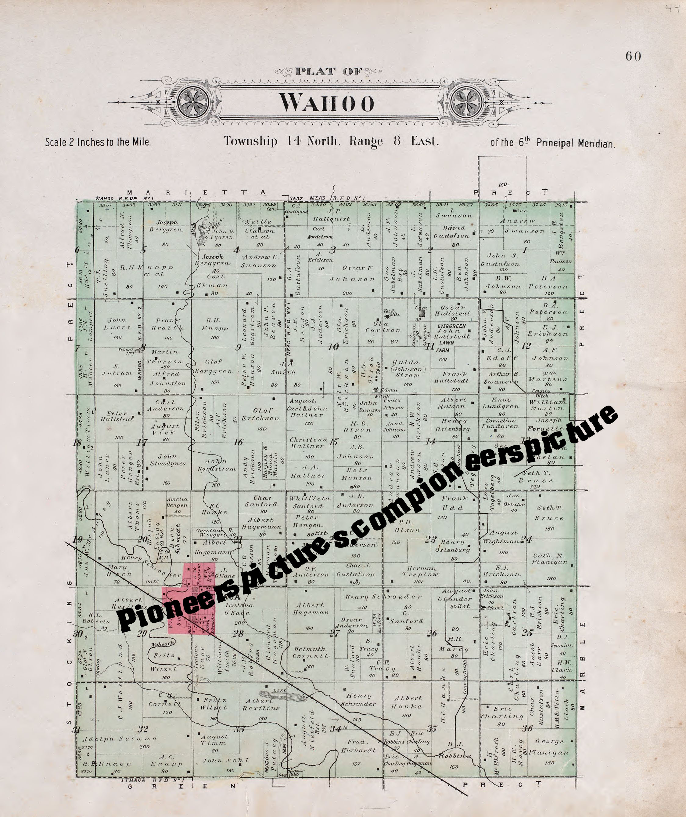 Wahoo Saunders County Nebraska 1907 Plat Map To Check To See If